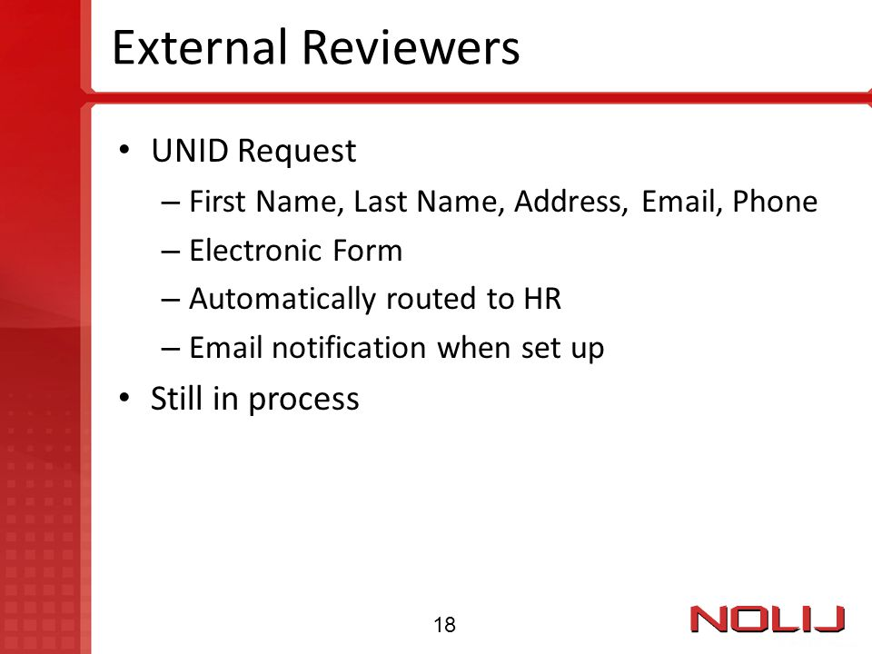 External Reviewers UNID Request Still in process