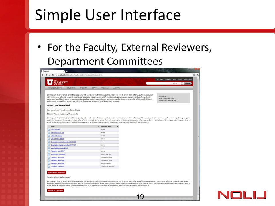 Simple User Interface For the Faculty, External Reviewers, Department Committees 19