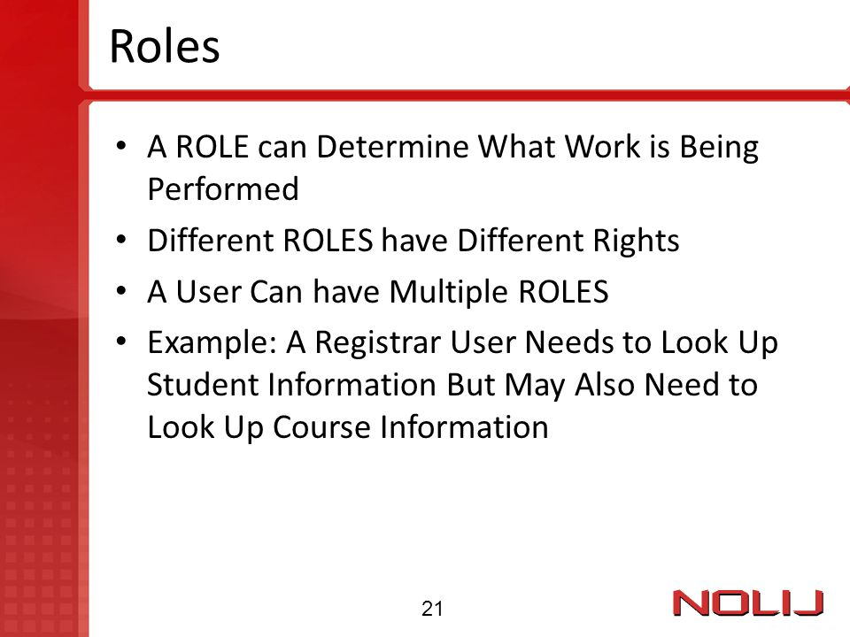 Roles A ROLE can Determine What Work is Being Performed
