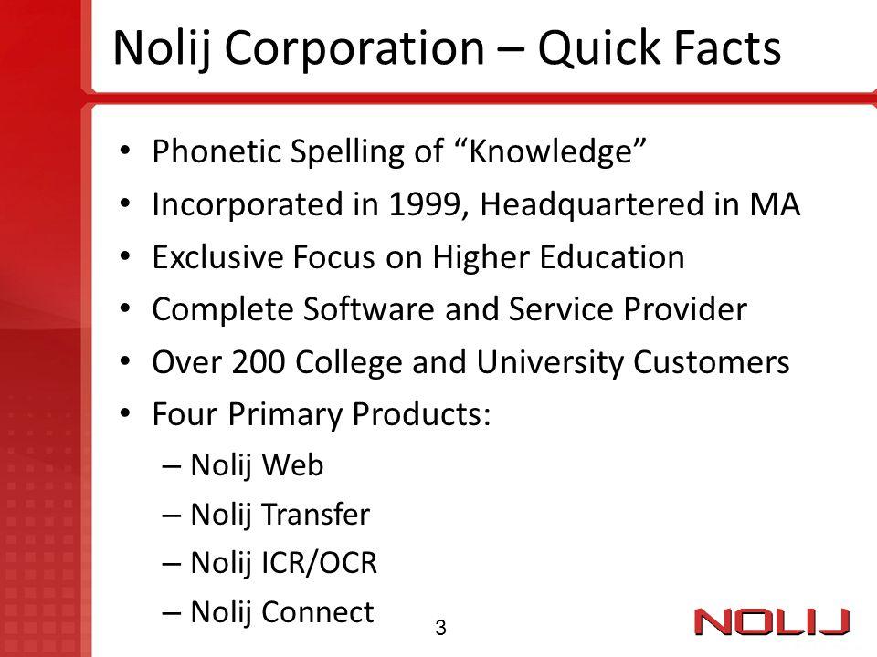 Nolij Corporation – Quick Facts