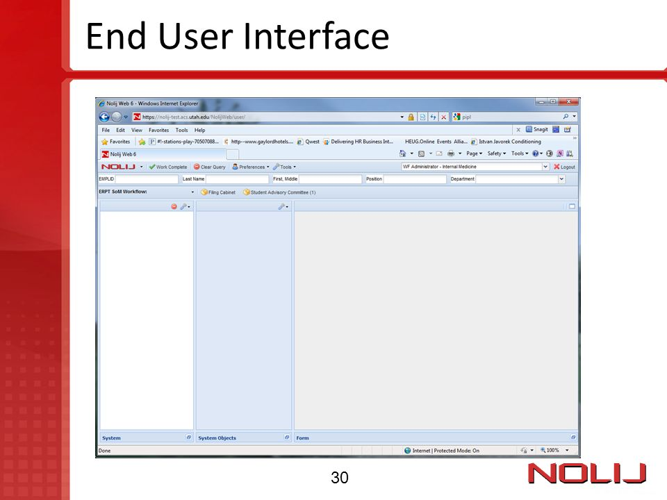 End User Interface 30