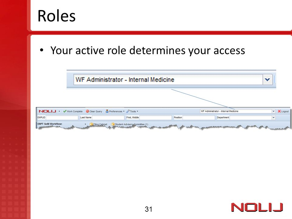 Roles Your active role determines your access 31