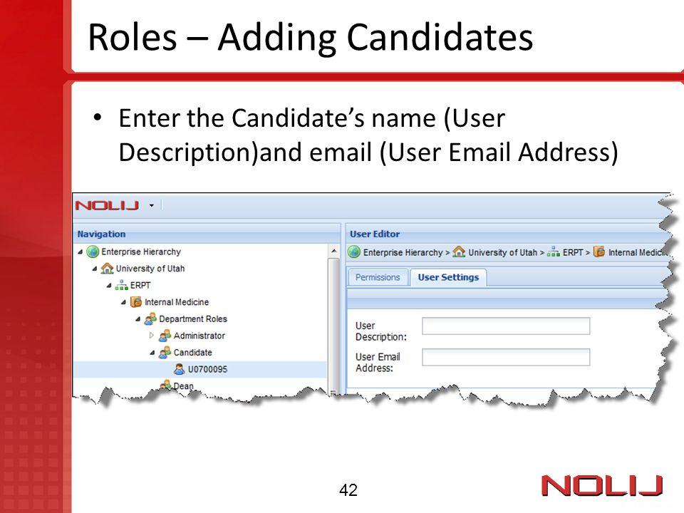 Roles – Adding Candidates