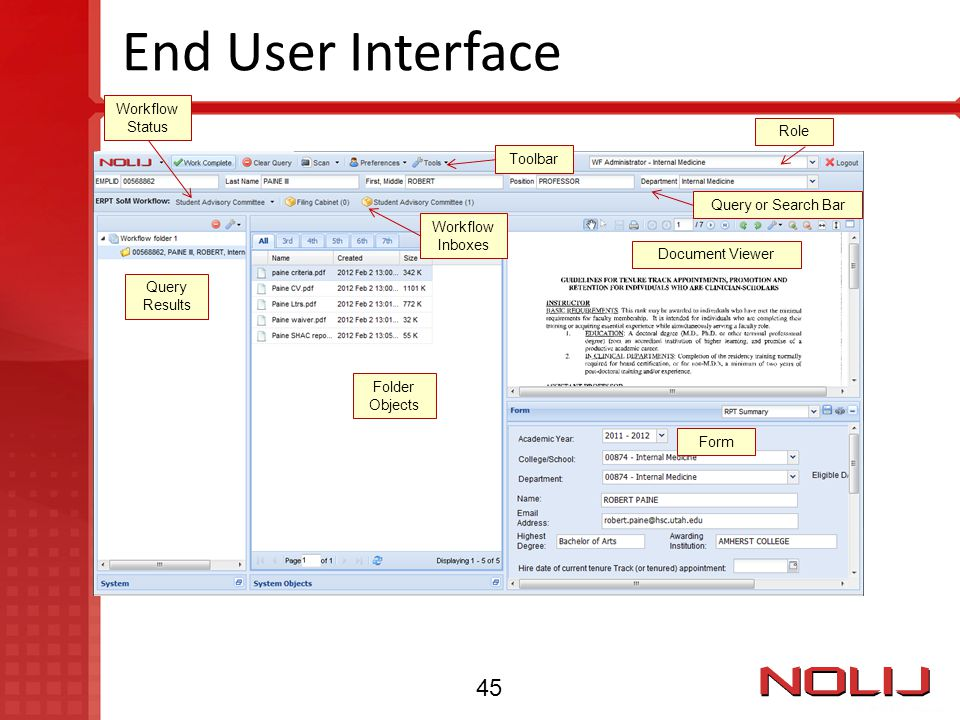 End User Interface 45 Workflow Status Role Toolbar Query or Search Bar