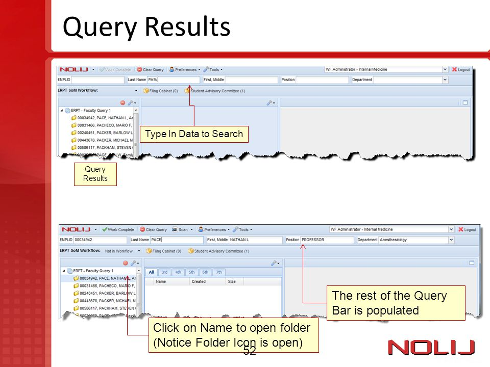 Query Results The rest of the Query Bar is populated