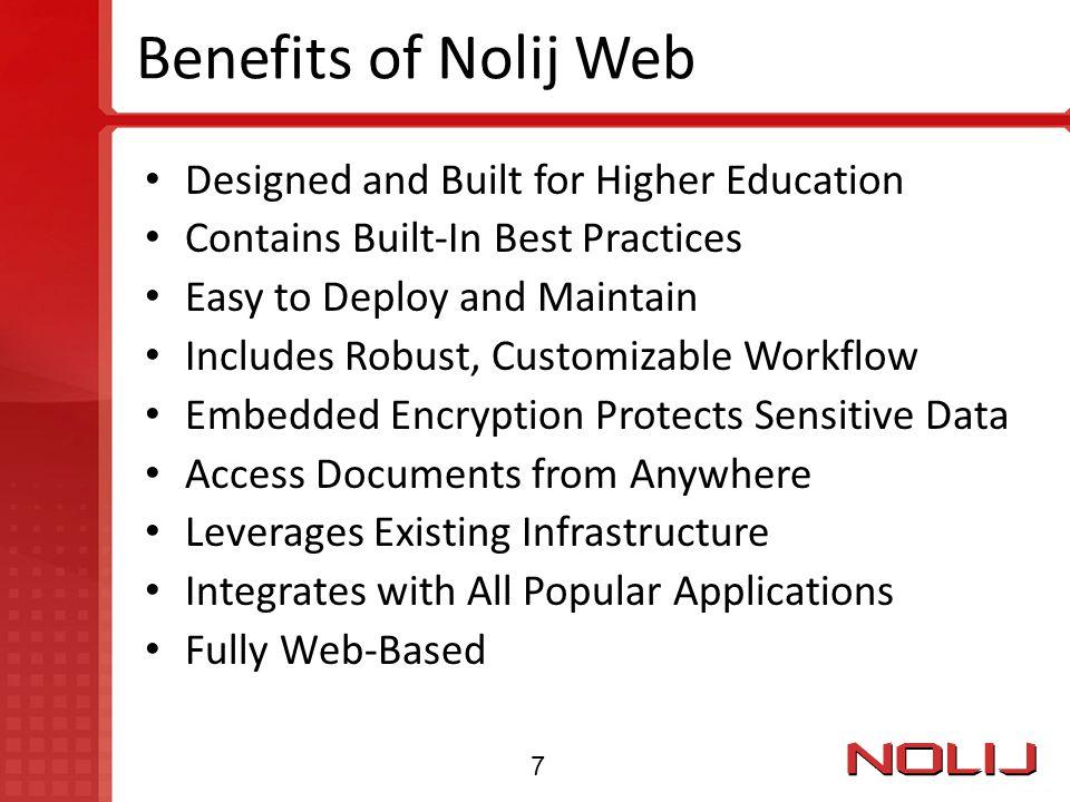 Benefits of Nolij Web Designed and Built for Higher Education