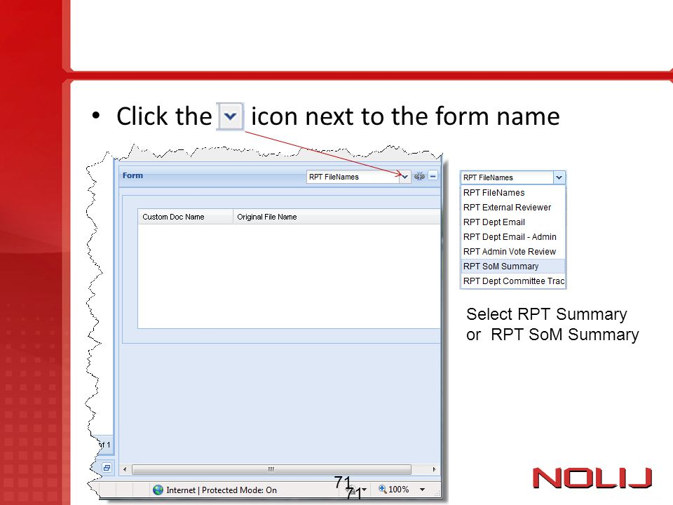 Click the icon next to the form name
