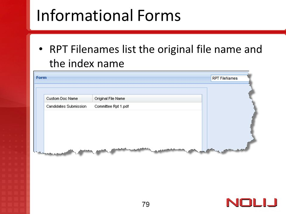 Informational Forms RPT Filenames list the original file name and the index name 79