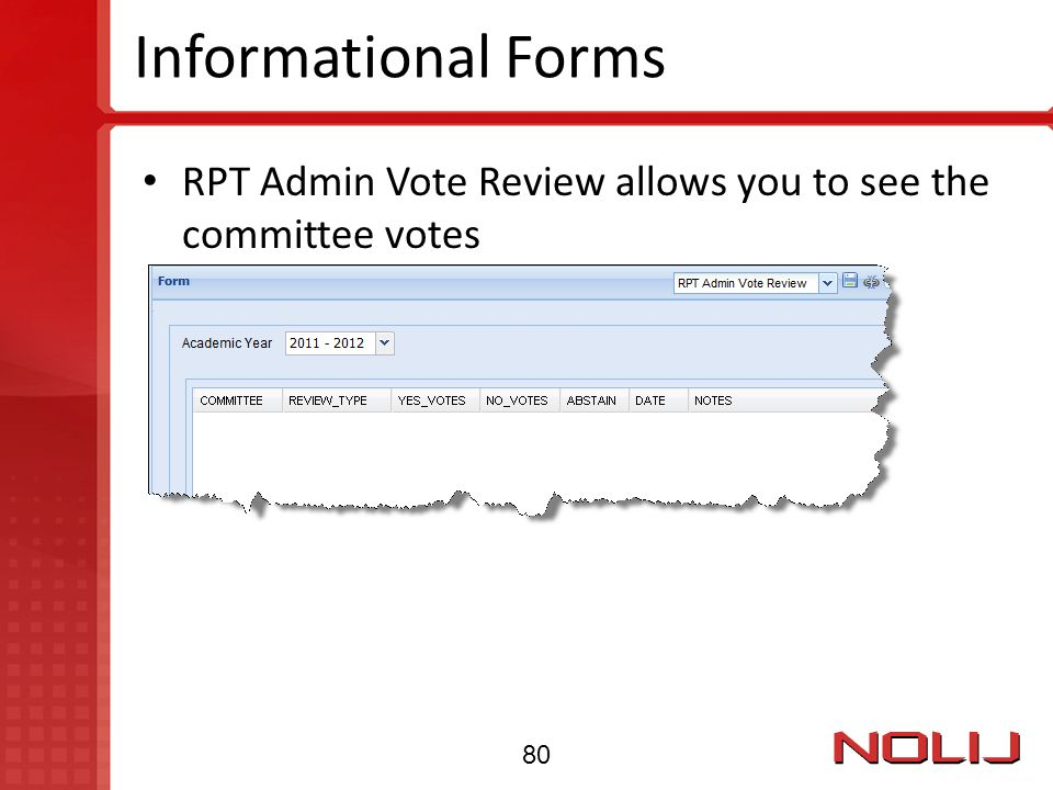Informational Forms RPT Admin Vote Review allows you to see the committee votes 80