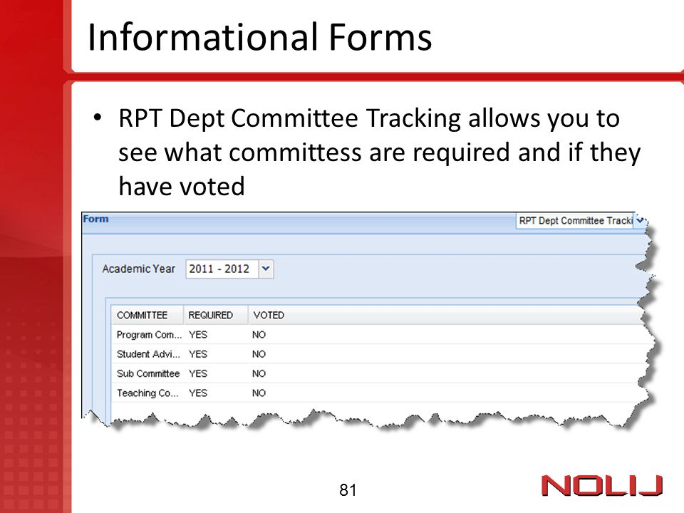 Informational Forms RPT Dept Committee Tracking allows you to see what committess are required and if they have voted.