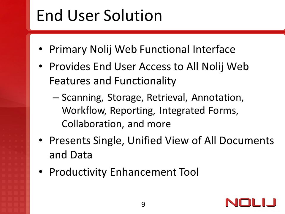 End User Solution Primary Nolij Web Functional Interface