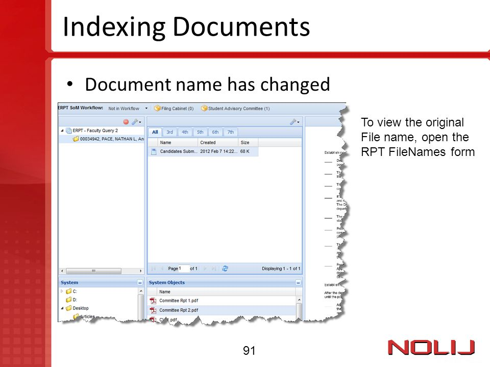 Indexing Documents Document name has changed To view the original