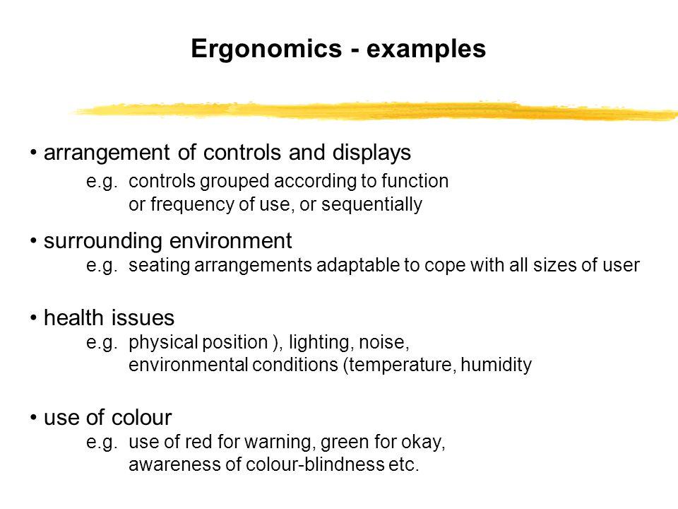 Ergonomics - examples • arrangement of controls and displays