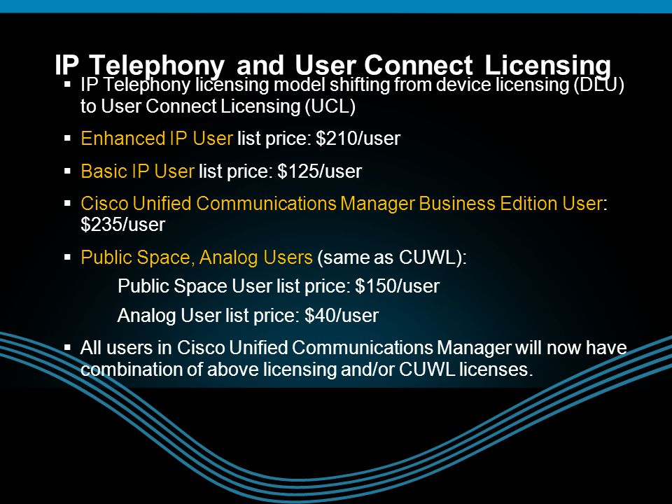 IP Telephony and User Connect Licensing