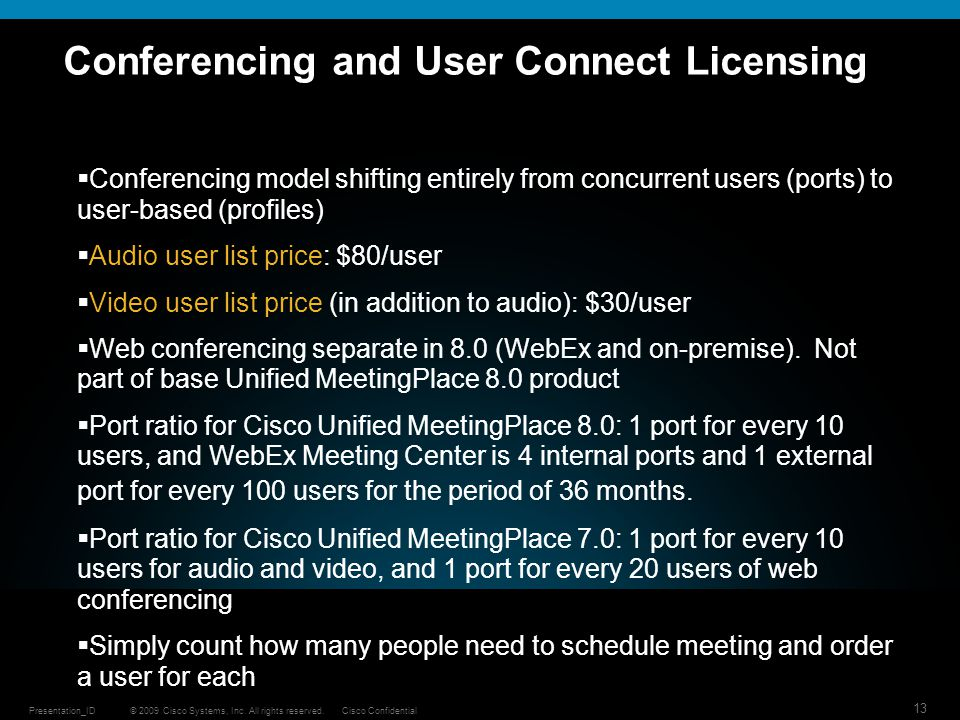 Conferencing and User Connect Licensing