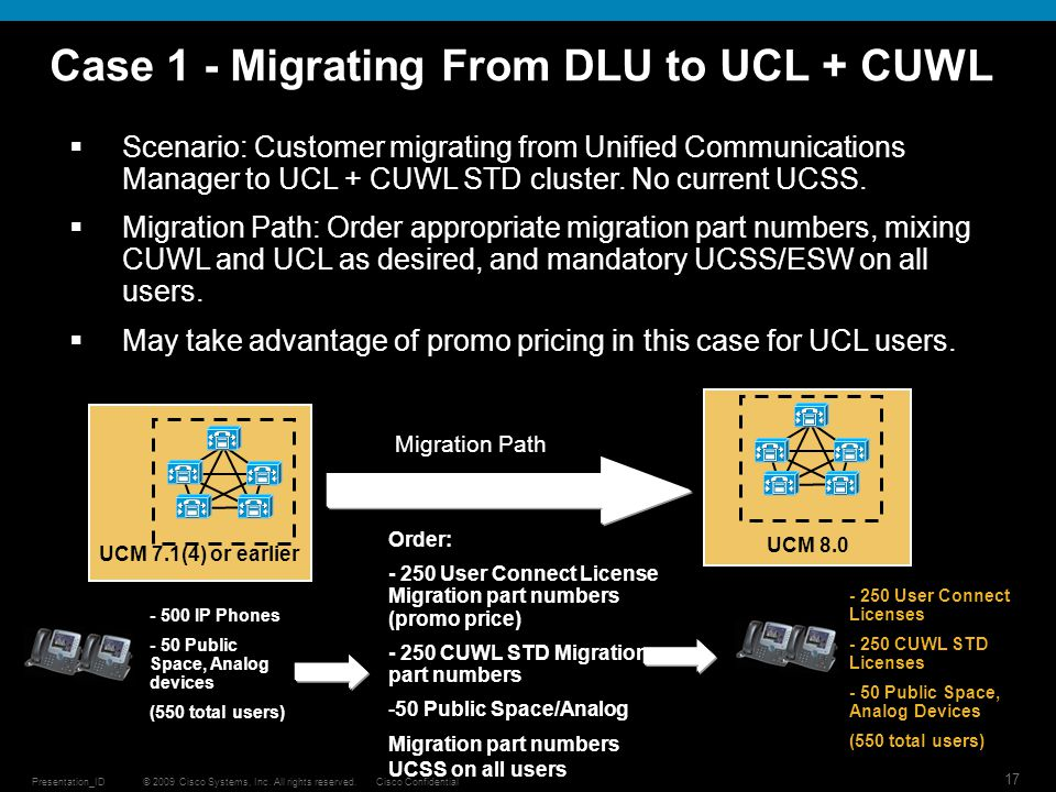 Case 1 - Migrating From DLU to UCL + CUWL
