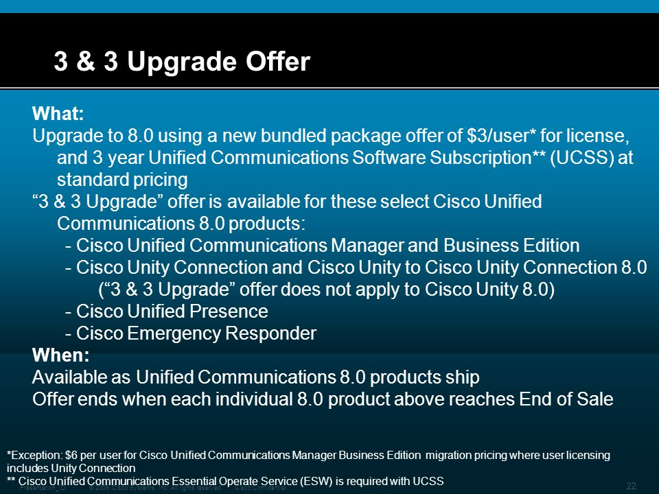 3 & 3 Upgrade Offer What: