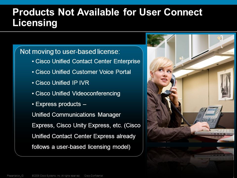 Products Not Available for User Connect Licensing