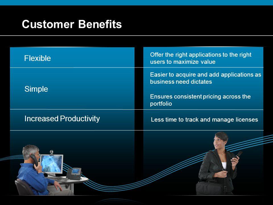 Customer Benefits Flexible Simple Increased Productivity