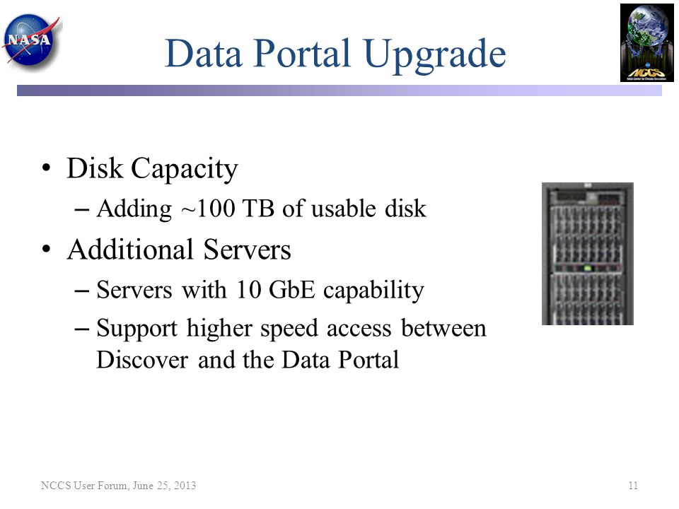 Data Portal Upgrade Disk Capacity Additional Servers