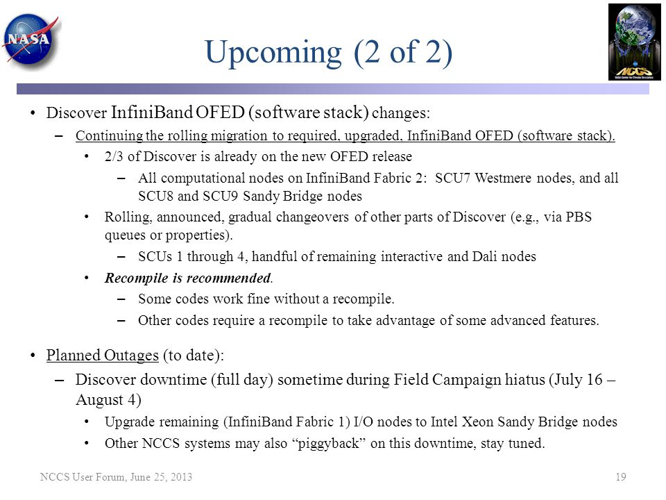 Upcoming (2 of 2) Discover InfiniBand OFED (software stack) changes: