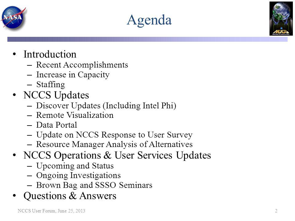 Agenda Introduction NCCS Updates