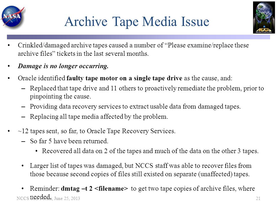 Archive Tape Media Issue
