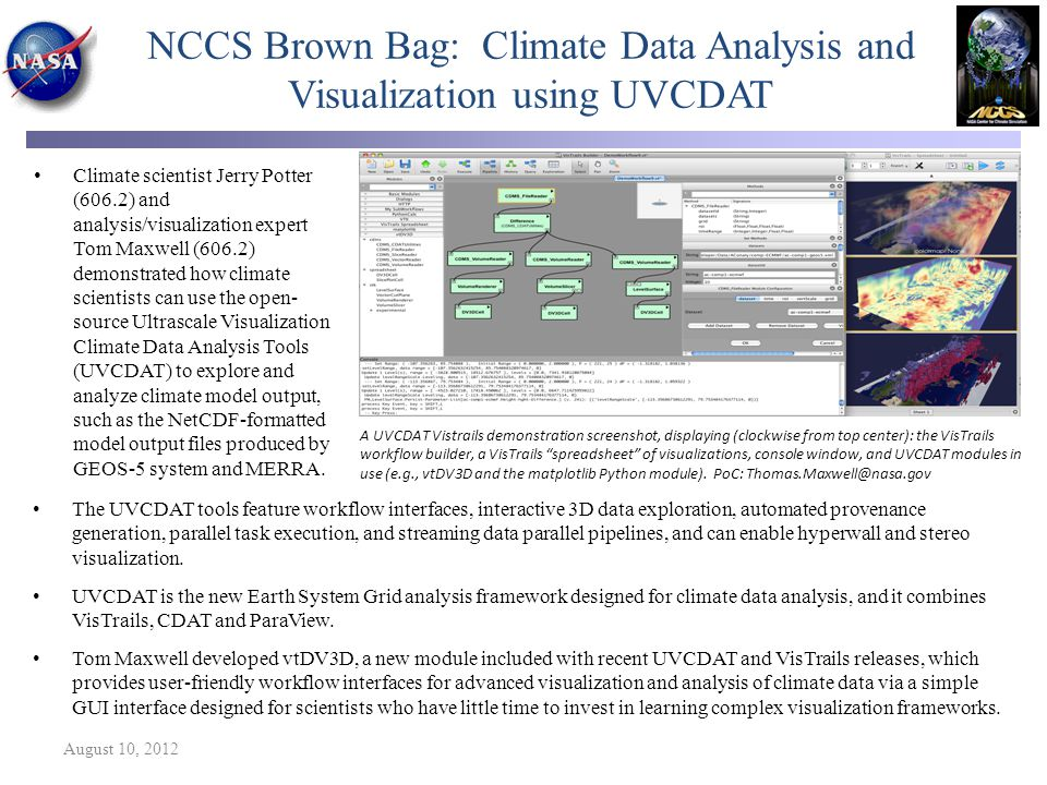 NCCS Brown Bag: Climate Data Analysis and Visualization using UVCDAT