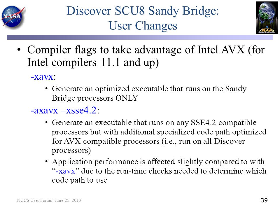 Discover SCU8 Sandy Bridge: User Changes