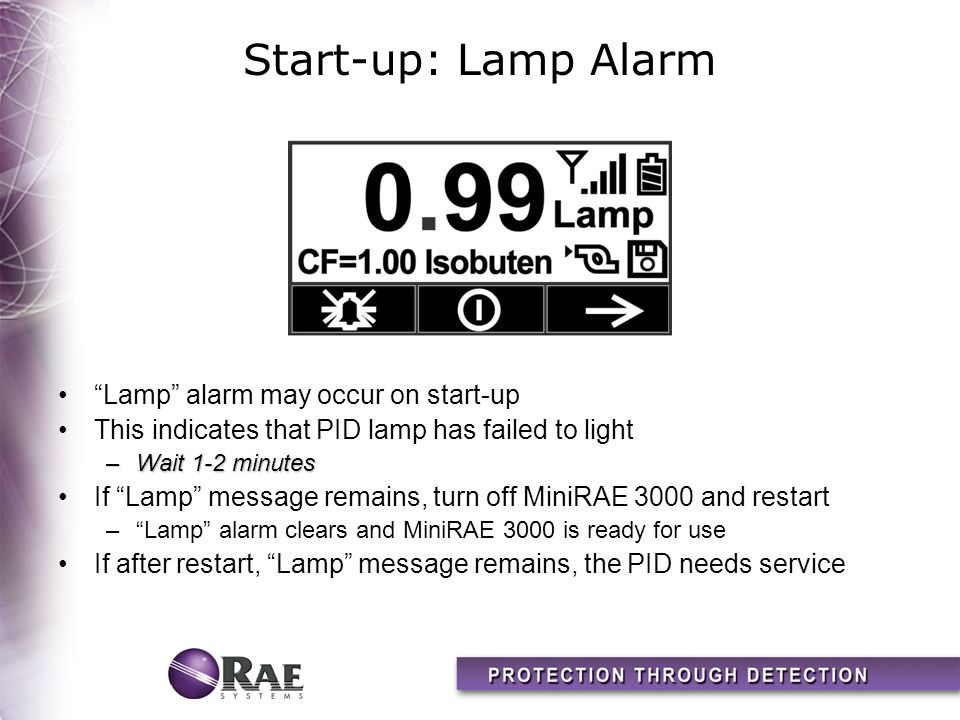 Start-up: Lamp Alarm Lamp alarm may occur on start-up
