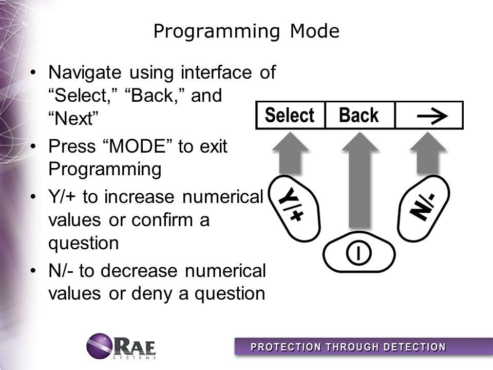 Programming Mode Navigate using interface of Select, Back, and Next Press MODE to exit Programming.