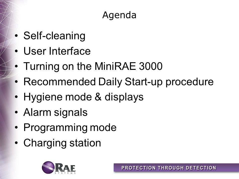 Recommended Daily Start-up procedure Hygiene mode & displays