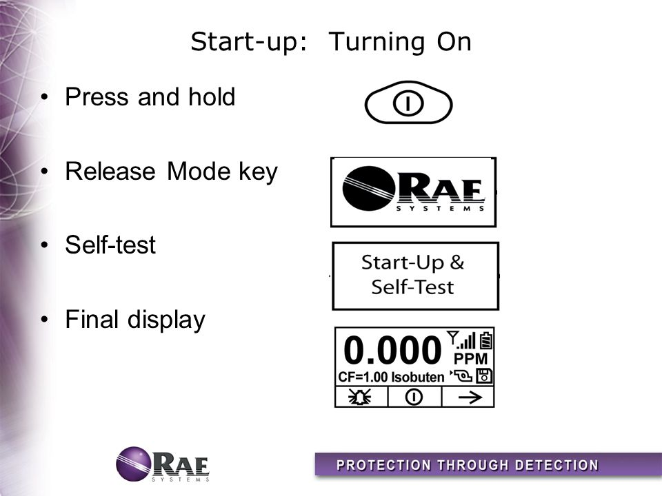 Start-up: Turning On Press and hold Release Mode key Self-test Final display