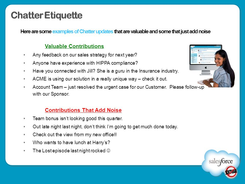 Chatter Etiquette Valuable Contributions