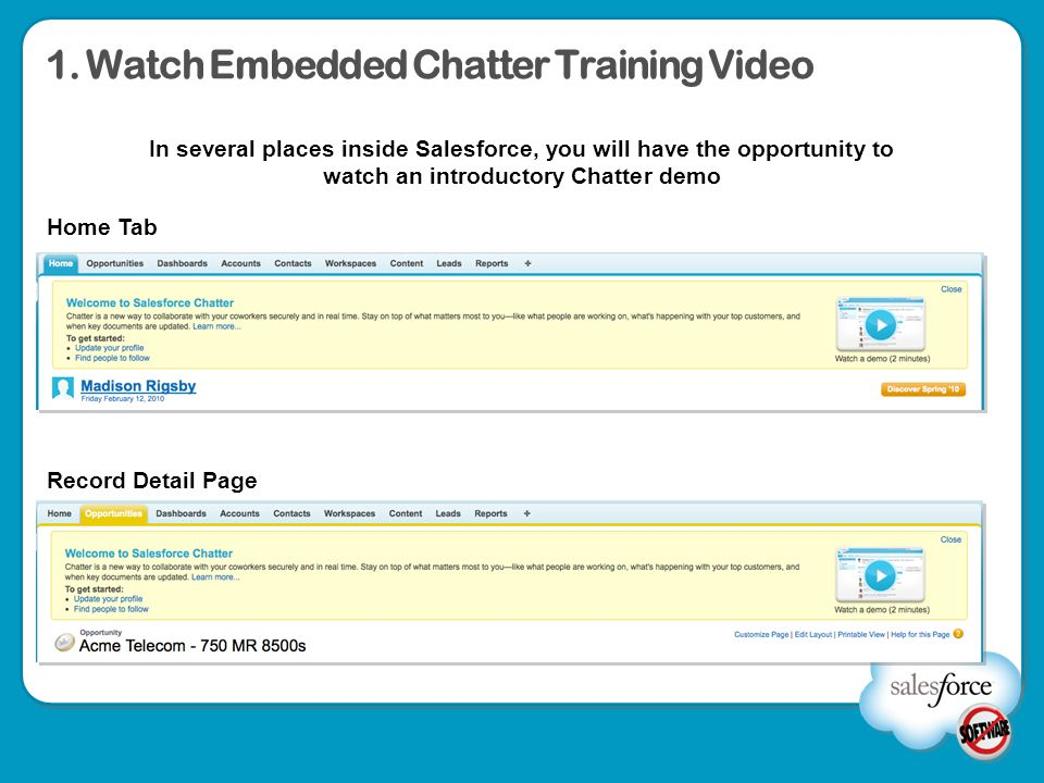 1. Watch Embedded Chatter Training Video