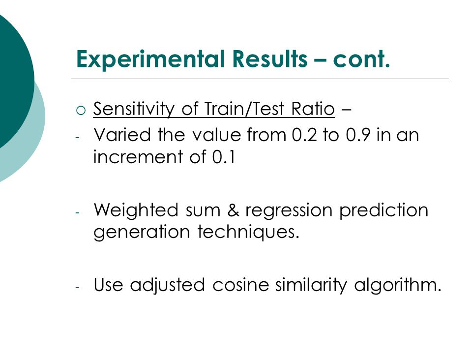 Experimental Results – cont.