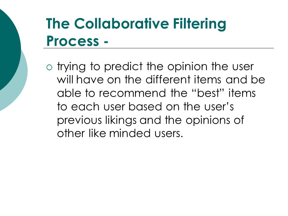 The Collaborative Filtering Process -