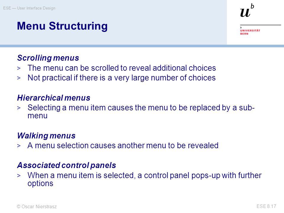 Menu Structuring Scrolling menus