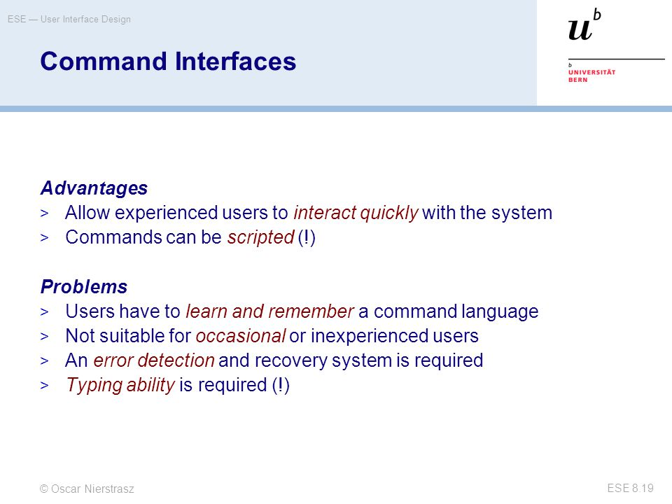 Command Interfaces Advantages