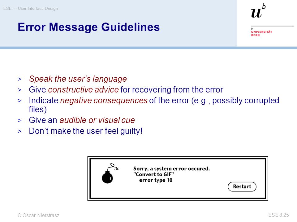 Error Message Guidelines