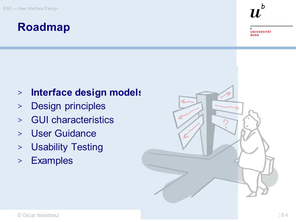 Roadmap Interface design models Design principles GUI characteristics