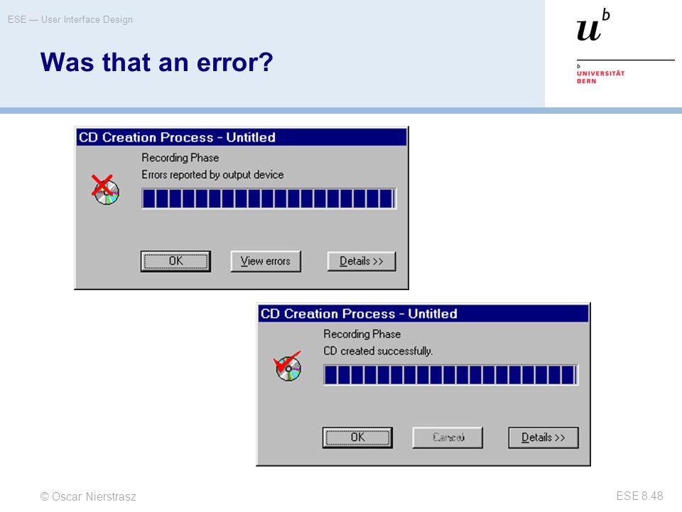 Was that an error Was that an error