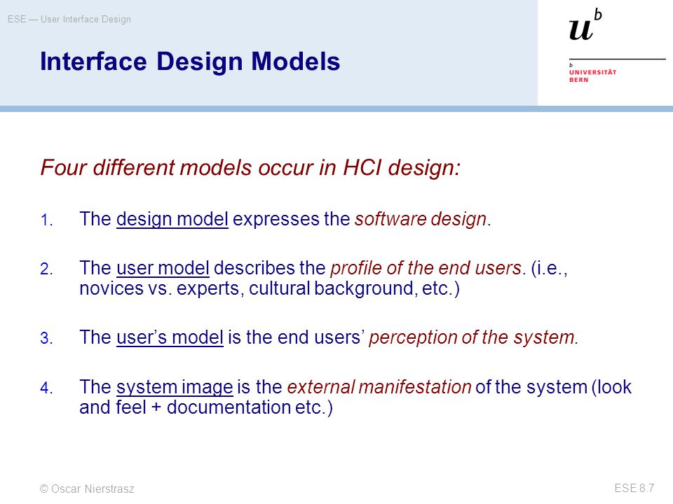 Interface Design Models