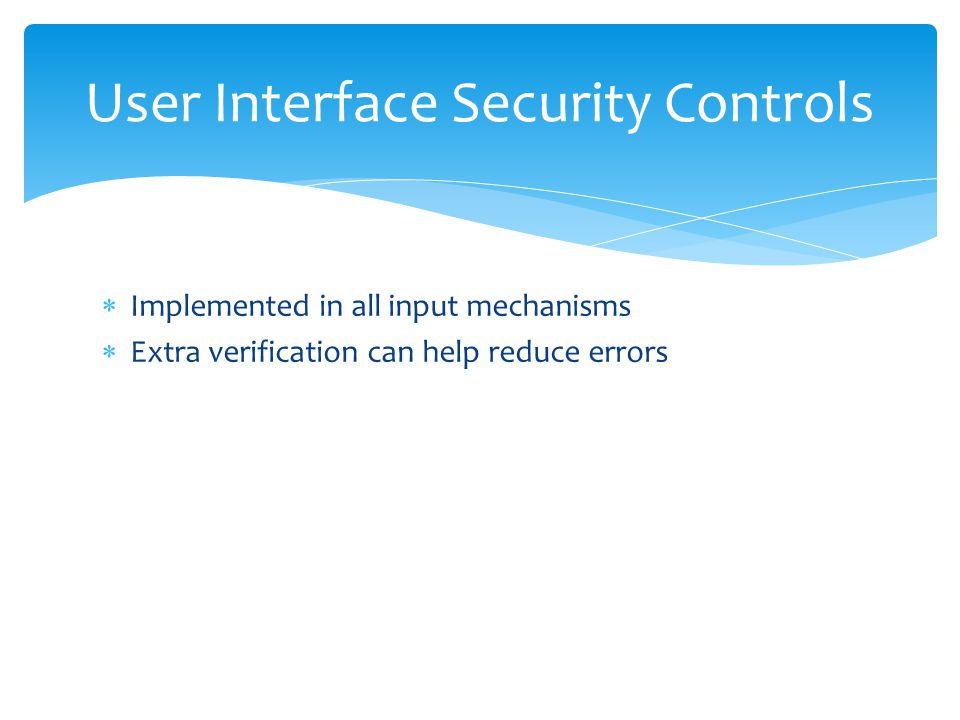 User Interface Security Controls