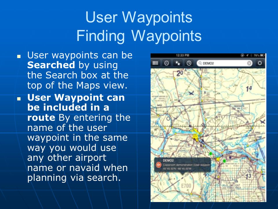 User Waypoints Finding Waypoints