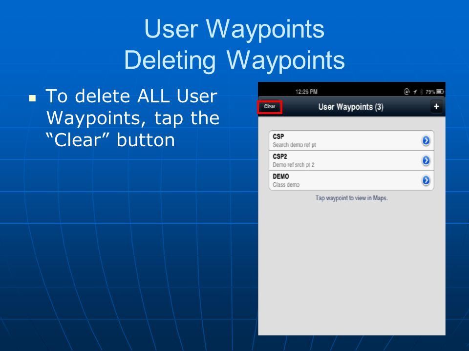 User Waypoints Deleting Waypoints