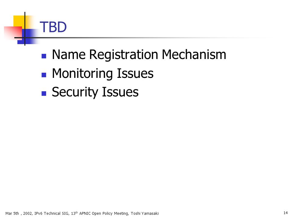 TBD Name Registration Mechanism Monitoring Issues Security Issues