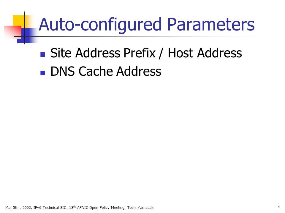 Auto-configured Parameters