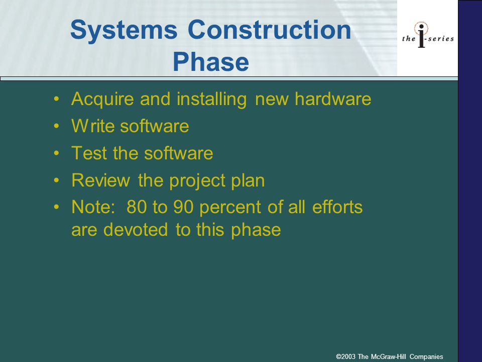Systems Construction Phase