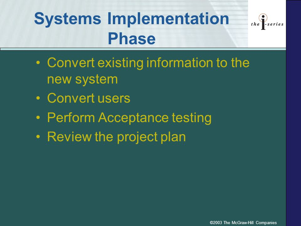 Systems Implementation Phase